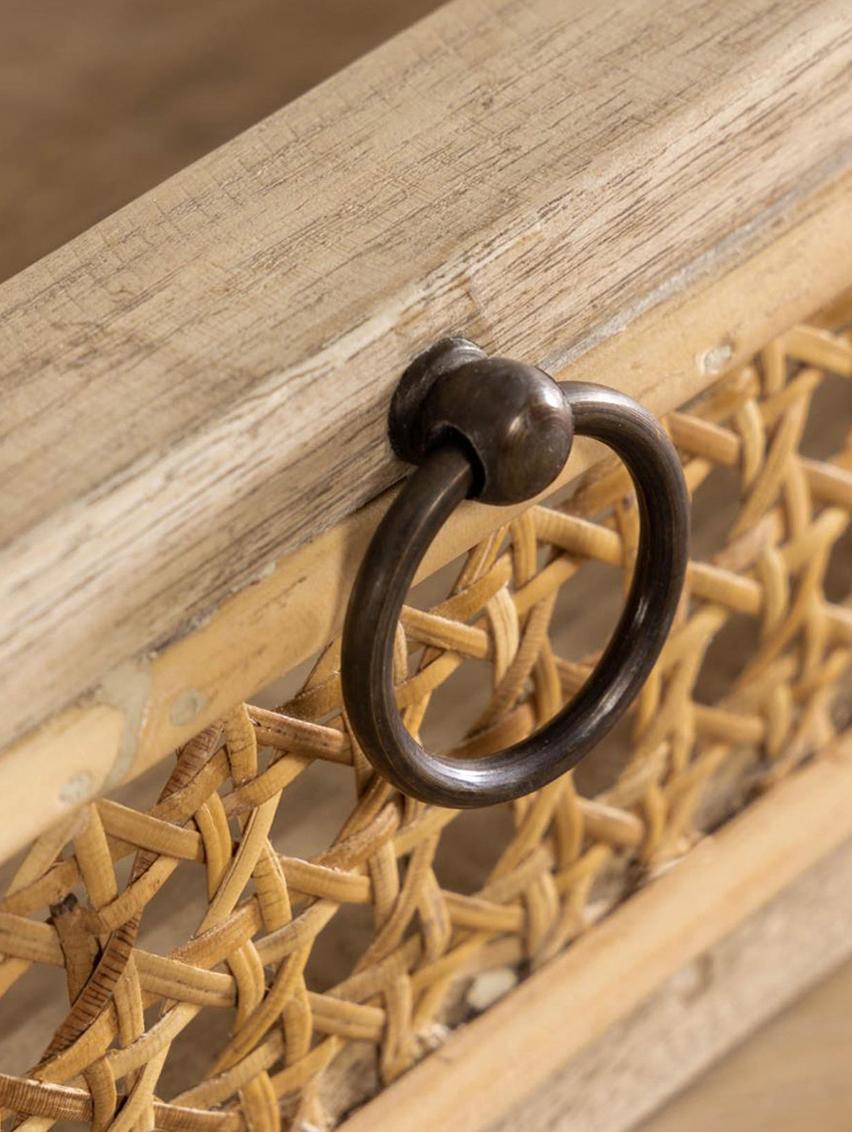Bureau Nalu van hout met Weens vlechtwerk, Mindihout, Mindihoutkleurig, B 110  x D 60 cm
