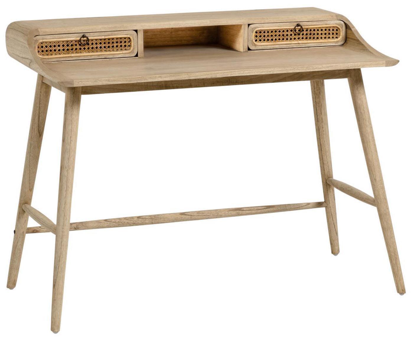 Biurko z drewna z plecionką wiedeńską Nalu, Drewno mindi, lakierowane, Drewno mindi, S 110 x G 60 cm