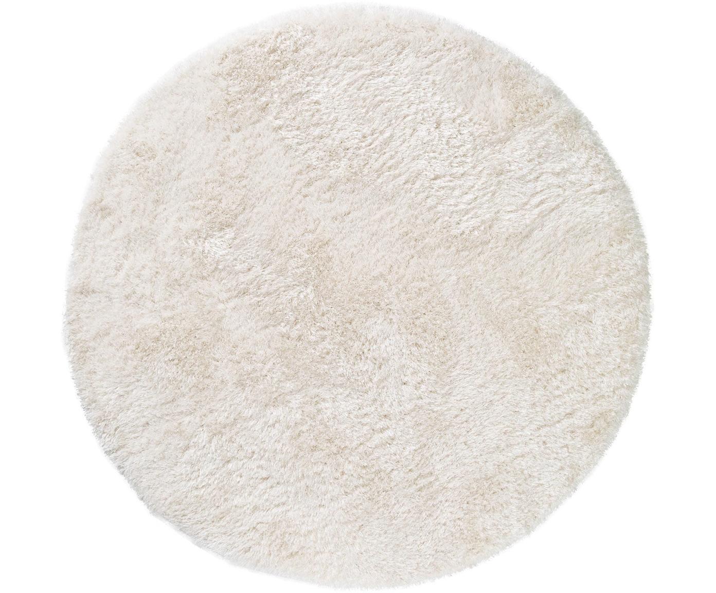 Glanzend hoogpolig vloerkleed Lea, rond, 50% polyester, 50% polypropyleen, Wit, Ø 120 cm (maat S)