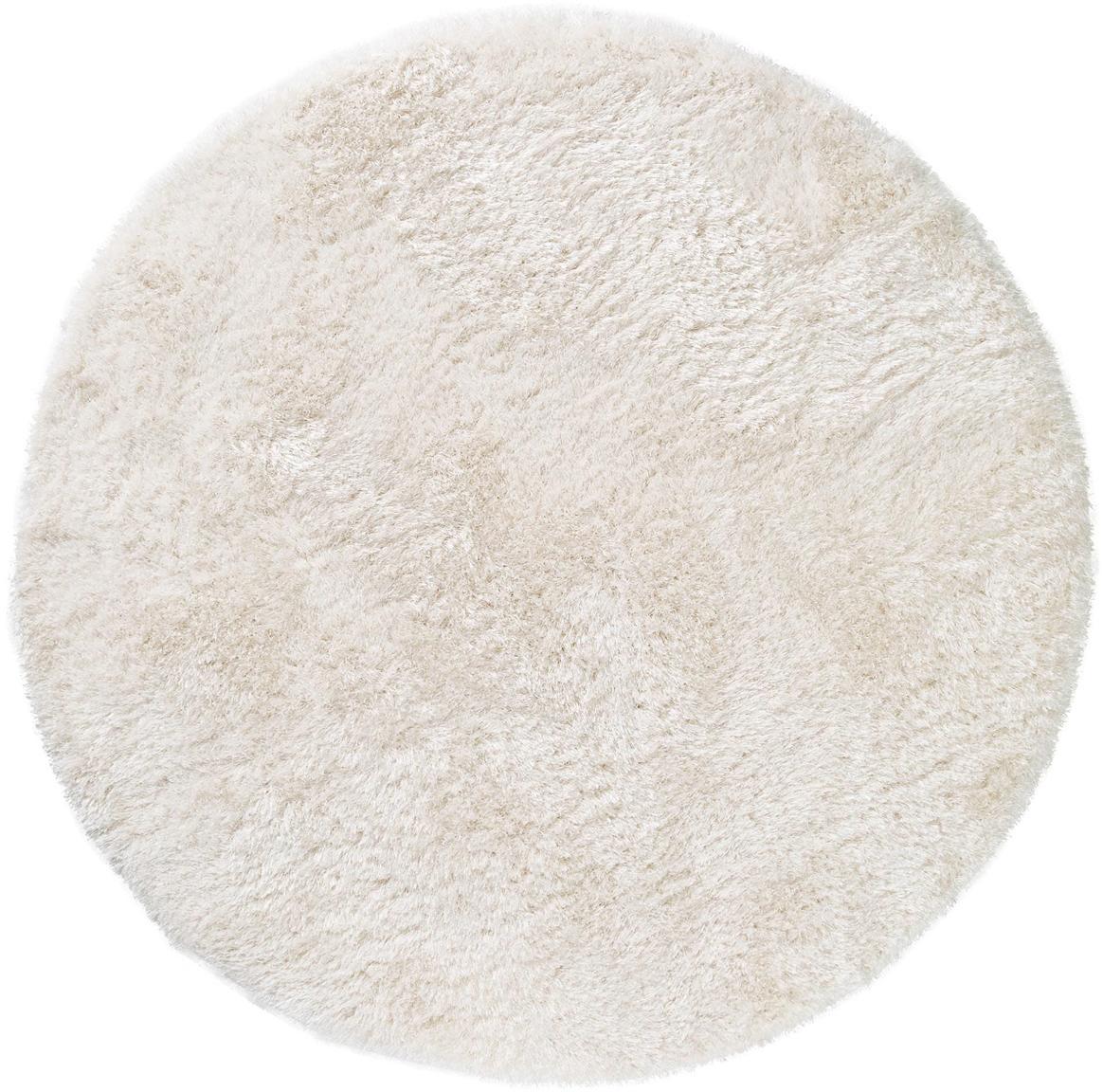 Tappeto a pelo lungo effetto lucido Lea, 50% poliestere, 50% polipropilene, Bianco, Ø 120 cm (taglia S)