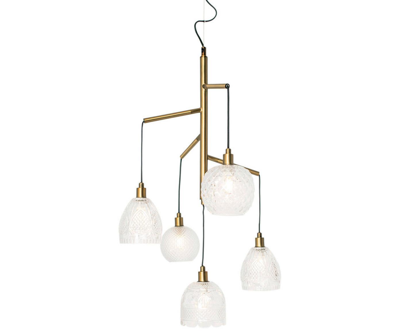 Lámpara de techo Crystal, Pantalla: vidrio, Cable: cubierto en tela, Latón, transparente, negro, Ø 53 x Al 80 cm