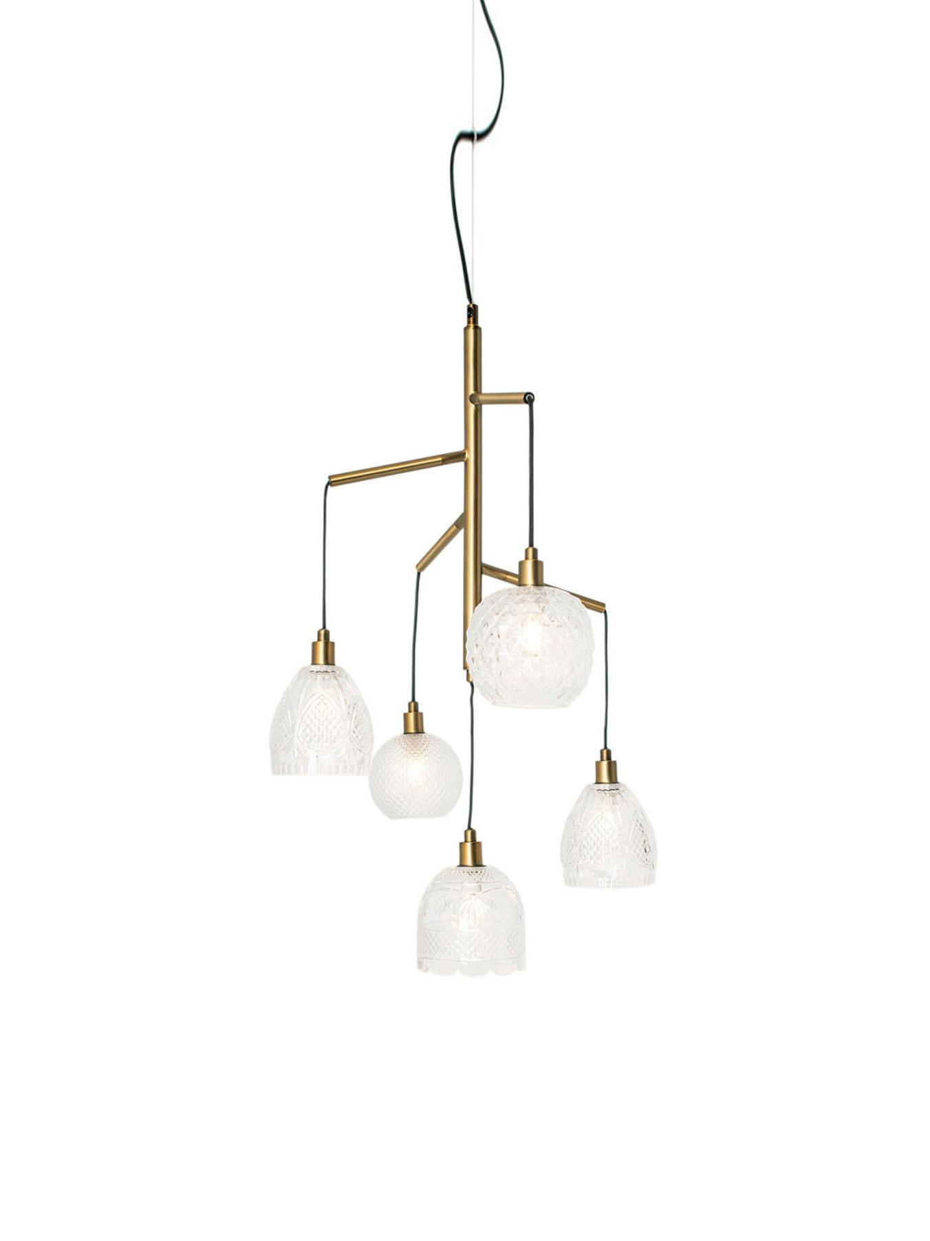 Lampada a sospensione Grace, Paralume: vetro, Ottone, trasparente, nero, Ø 53 x Alt. 80 cm