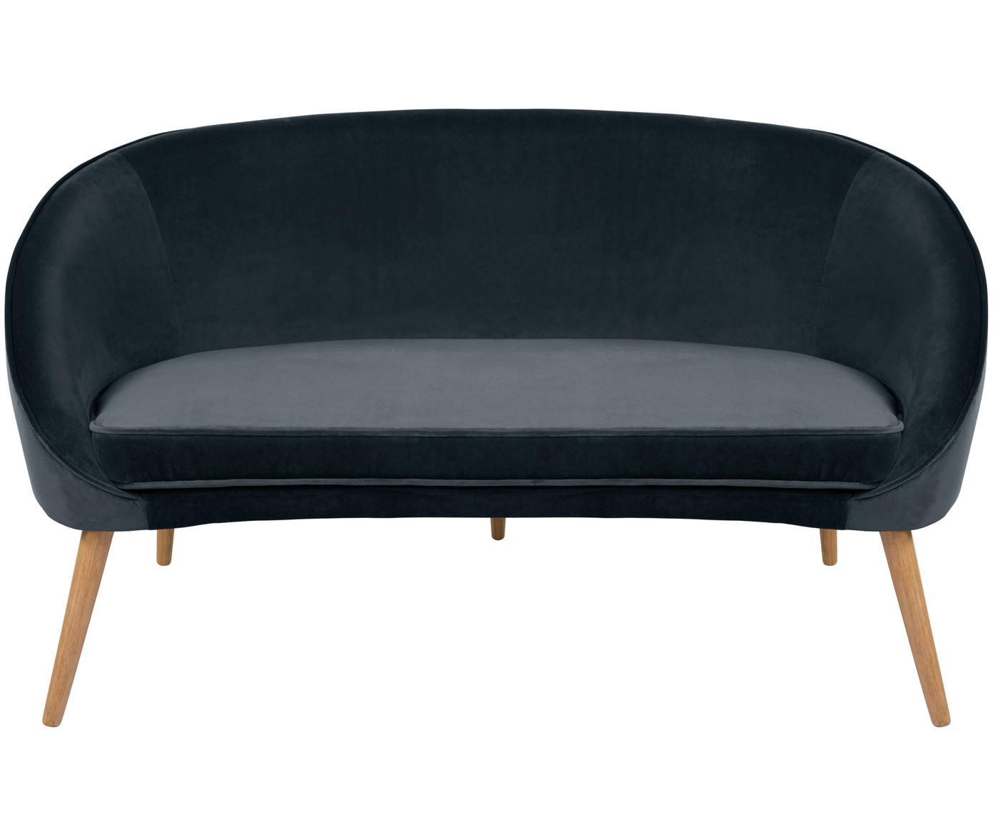 Fluwelen sofa Safir (2-zits), Bekleding: polyester fluweel, Poten: gebeitst walnoothout, Donkergrijs, B 136  x D 66 cm
