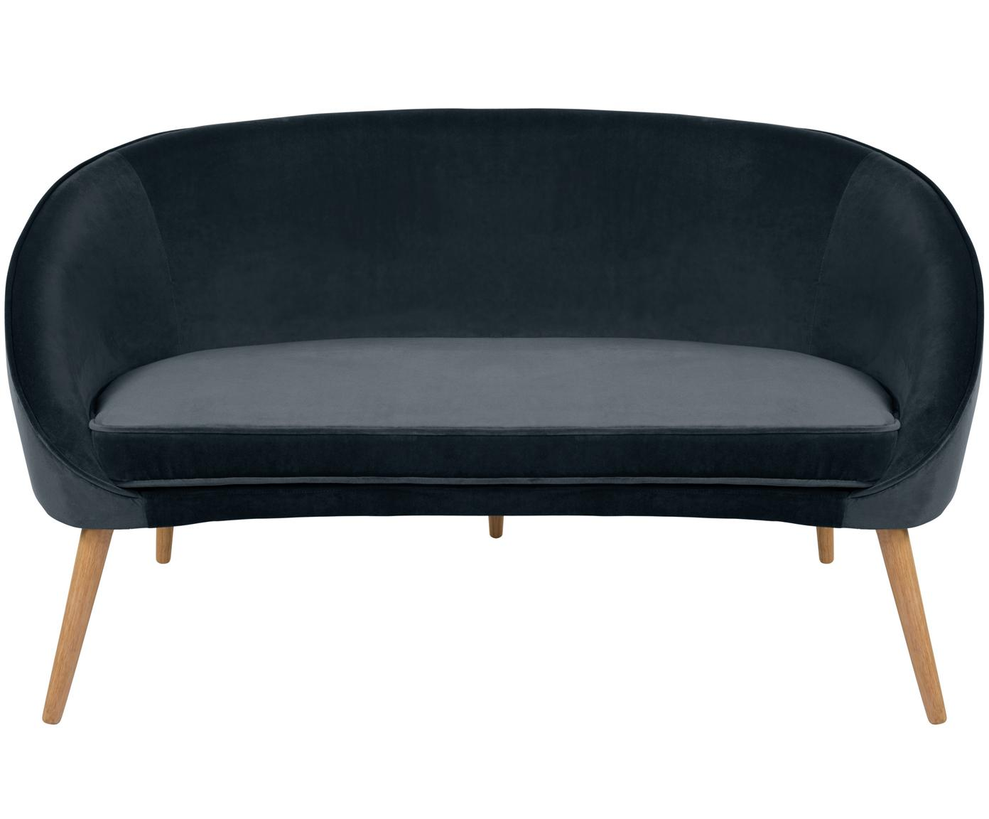 Sofa z aksamitu Safir (2-osobowa), Tapicerka: aksamit poliestrowy 5000, Nogi: drewno orzechowe, bejcowa, Ciemnyszary, S 136 x G 66 cm