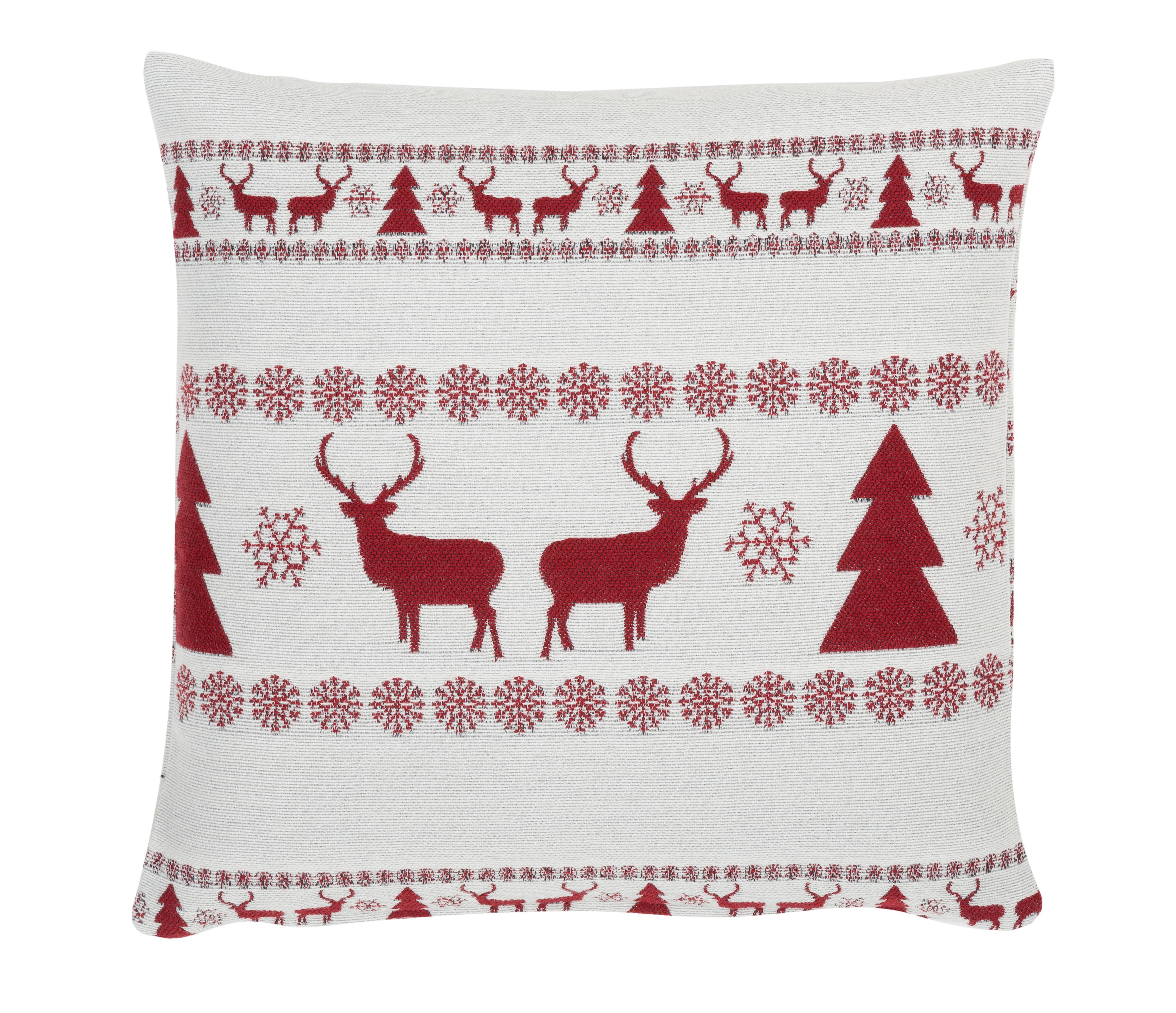 Kissenhülle Nordic Winter mit weihnachtlichem Muster, 56% Polyester, 31% Acryl, 13% Wolle, Cremeweiß, Rot, 45 x 45 cm