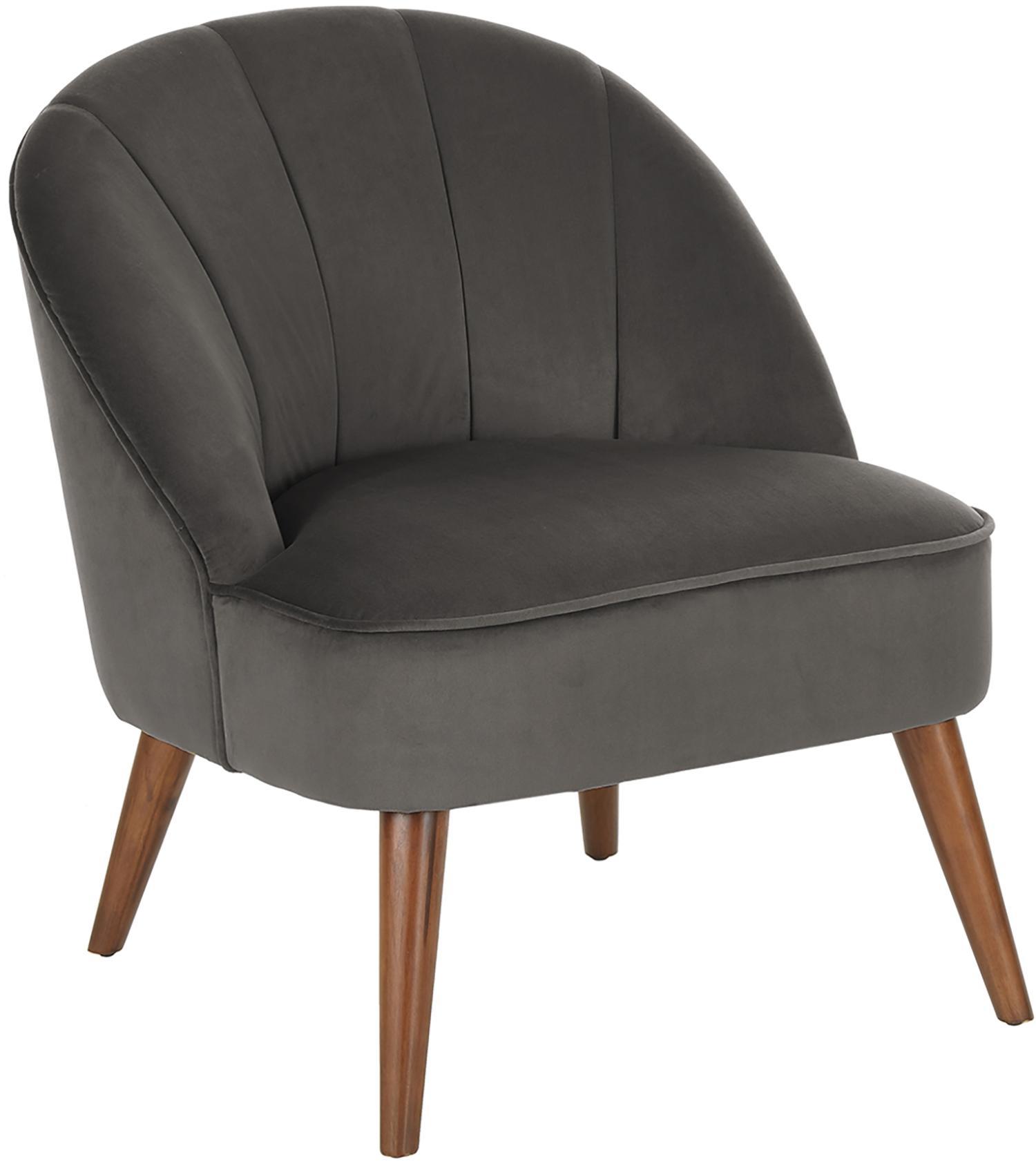 Fluwelen fauteuil Aya, Bekleding: fluweel (polyester), Poten: berkenhout, gelakt, Fluweel donkergrijs, B 73 x D 64 cm