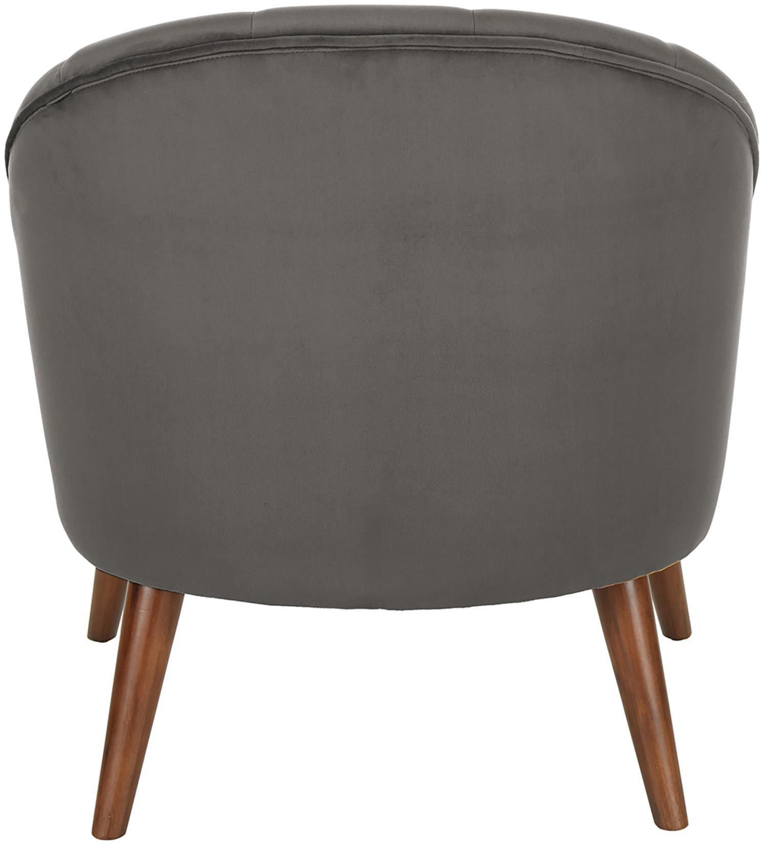 Samt-Cocktailsessel Aya, Bezug: Samt (Polyester) 30.000 S, Füße: Birkenholz, lackiert, Samt Dunkelgrau, B 73 x T 64 cm