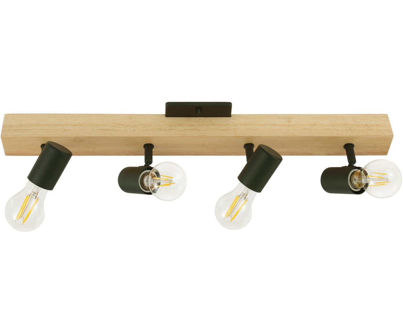 Lampa sufitowa Townshend, Czarny, drewno naturalne, S 63 x W 13 cm