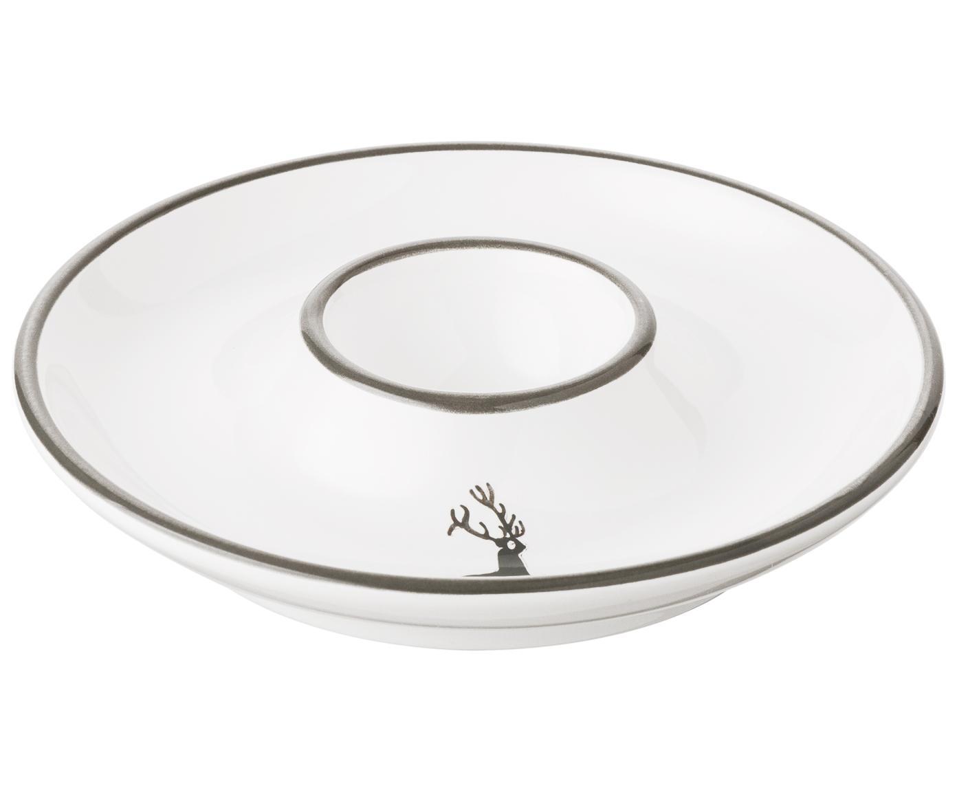 Soporte de huevo Classic Grauer Hirsch, Cerámica, Gris, blanco, Ø 12 cm