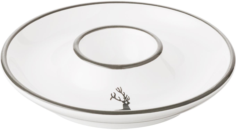 Soporte de huevo artesanal Classic Grauer Hirsch, Cerámica, Gris, blanco, Ø 12 cm