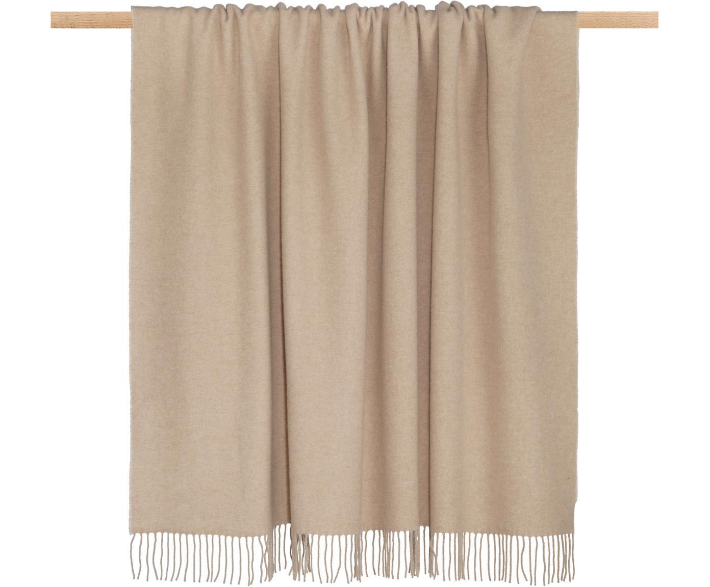 Manta de cachemira Liliana, 80%lana, 20%cachemir, Beige, crema, An 130 x L 170 cm
