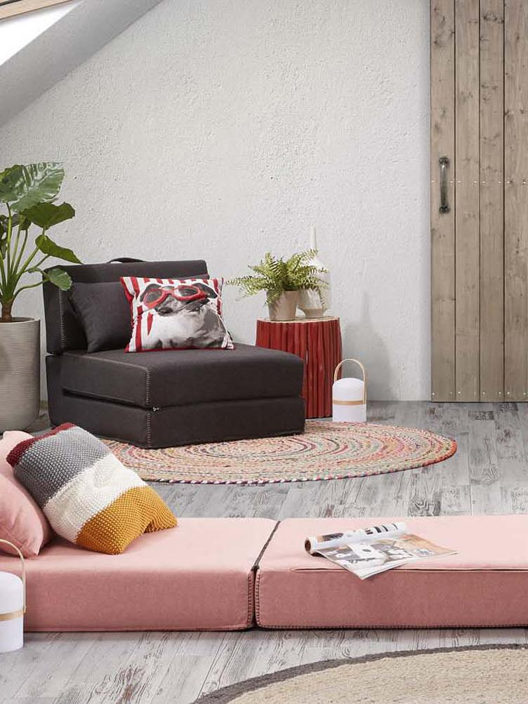 Schlafsessel Arty, Bezug: Polyester Der hochwertige, Graphitgrau, 70 x 67 cm