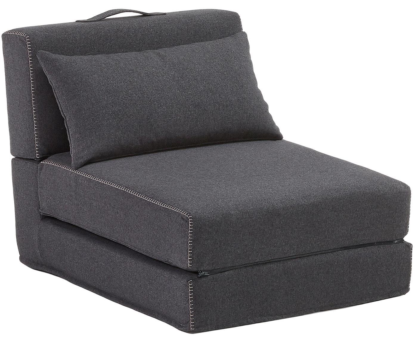 Fotel rozkładany Arty, Pianka, tkanina, Grafitowoszary, S 70 x D 67 cm