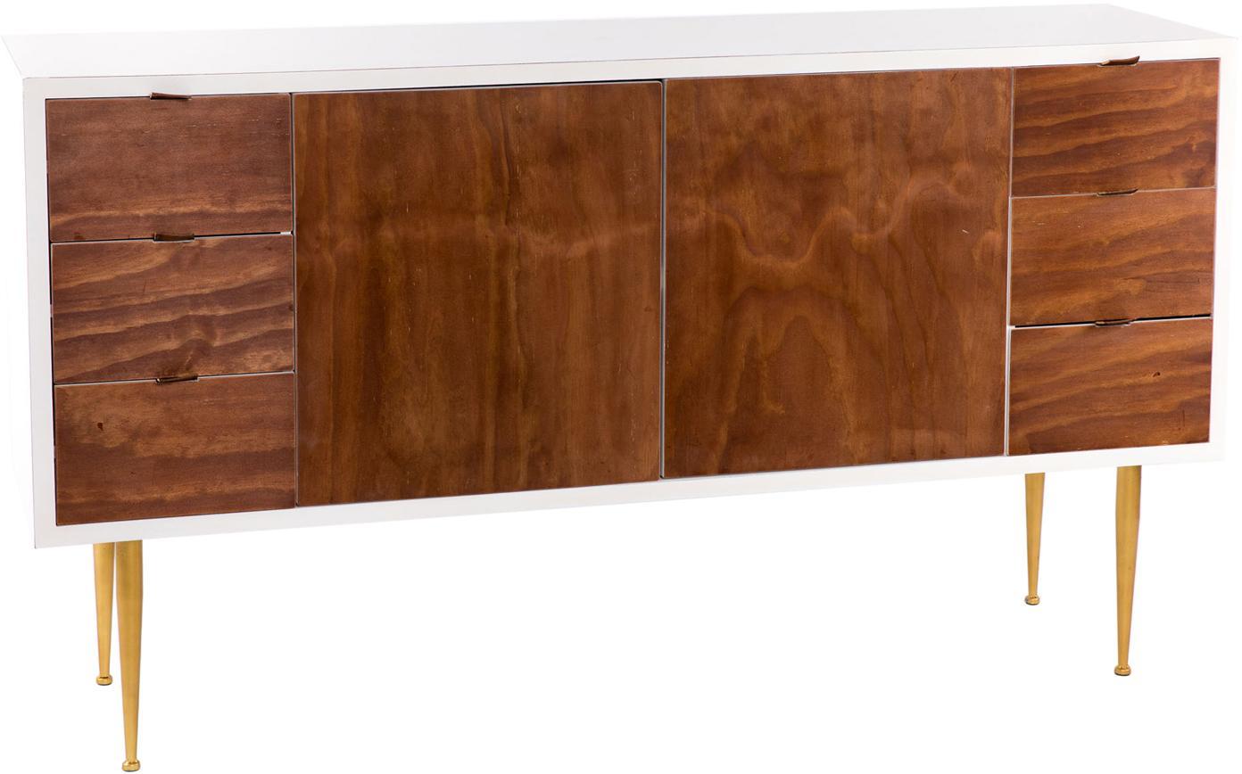 Aparador Chloe, Cuerpo: madera de abeto, chapa de, Patas: metal, Natural oscuro, dorado, An 150 x Al 86 cm
