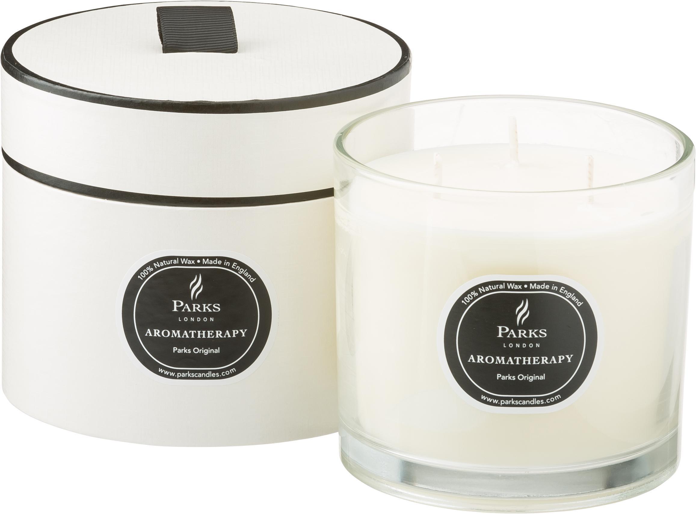 Vela perfumada con tres mechas Parks Original (vainilla y cítricos), Recipiente: cristal, Transparente, blanco, negro, Ø 12 x Al 11 cm