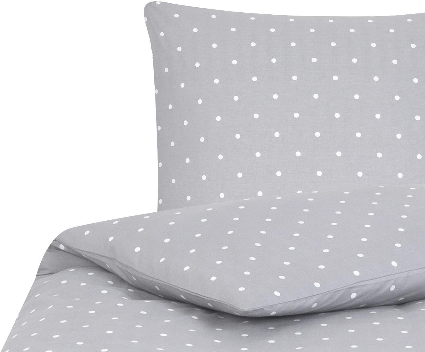 Gepunktete Baumwoll-Bettwäsche Dotty in Grau/Weiß, Webart: Renforcé Fadendichte 144 , Grau, Weiß, 155 x 220 cm + 1 Kissen 80 x 80 cm