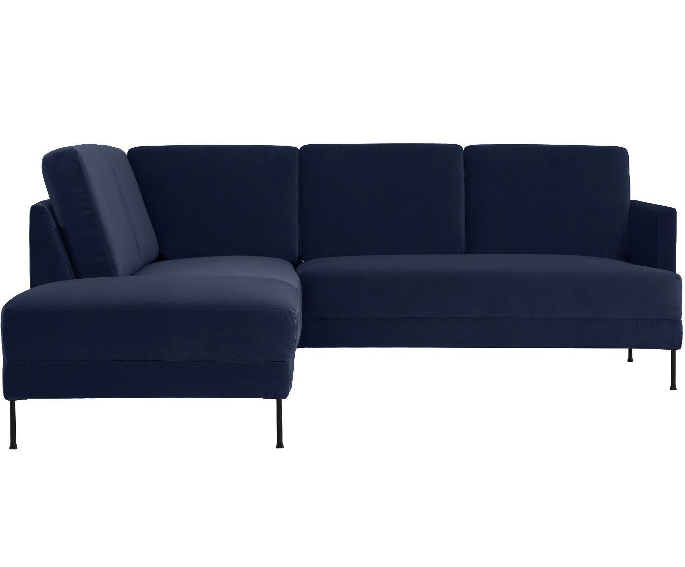 Sofa narożna z aksamitu Fluente, Tapicerka: aksamit (wysokiej jakości, Stelaż: lite drewno sosnowe, Nogi: metal lakierowany, Aksamitny ciemny niebieski, S 221 x G 200 cm