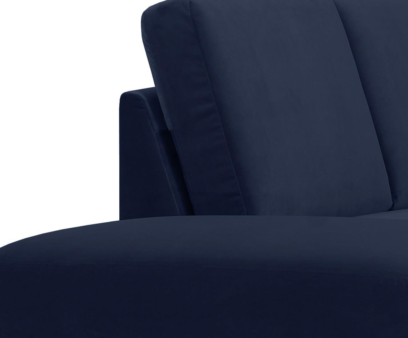 Samt-Ecksofa Fluente, Bezug: Samt (Hochwertiger Polyes, Gestell: Massives Kiefernholz, Füße: Metall, lackiert, Samt Dunkelblau, B 221 x T 200 cm
