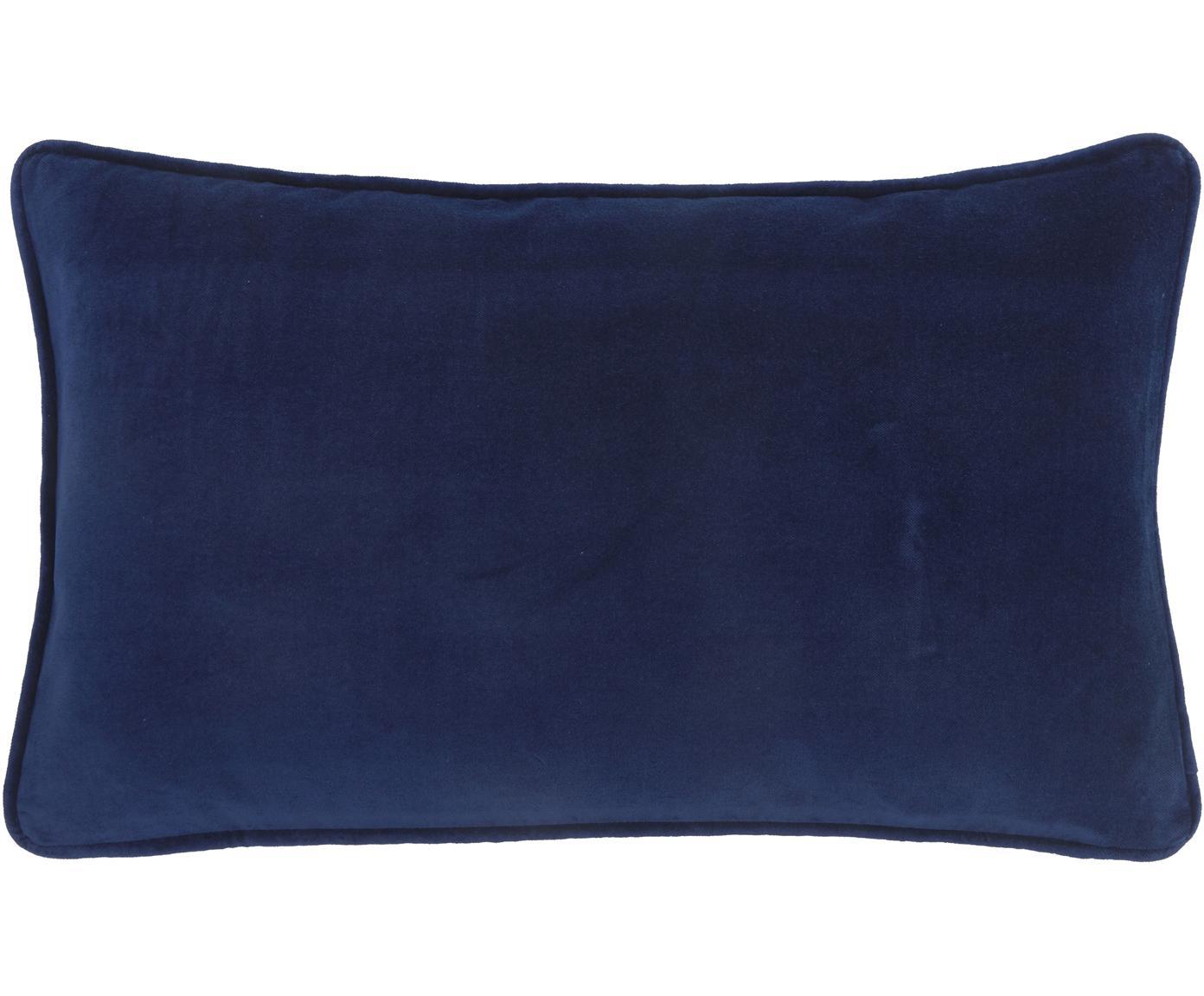 Federa arredo in velluto in blu navy Dana, Velluto di cotone, Blu marino, Larg. 30 x Lung. 50 cm