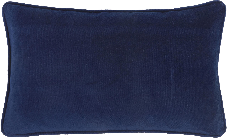 Funda de cojín de terciopelo Dana, Terciopelo de algodón, Azul marino, An 30 x L 50 cm