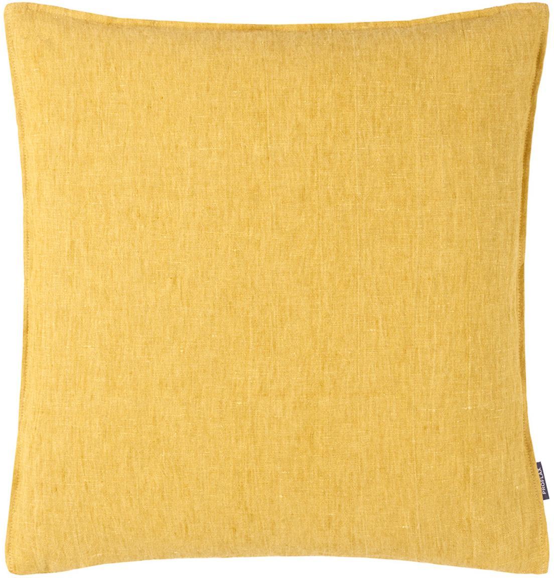 Federa arredo in lino lavato giallo ocra Sven, Lino, Giallo ocra, P 50 x L 50 cm