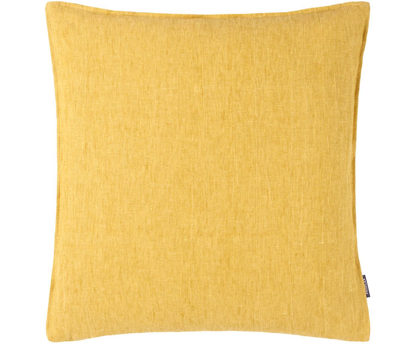 Poszewka na poduszkę z lnu Sven, Len, Brunatnożółty, S 50 x D 50 cm