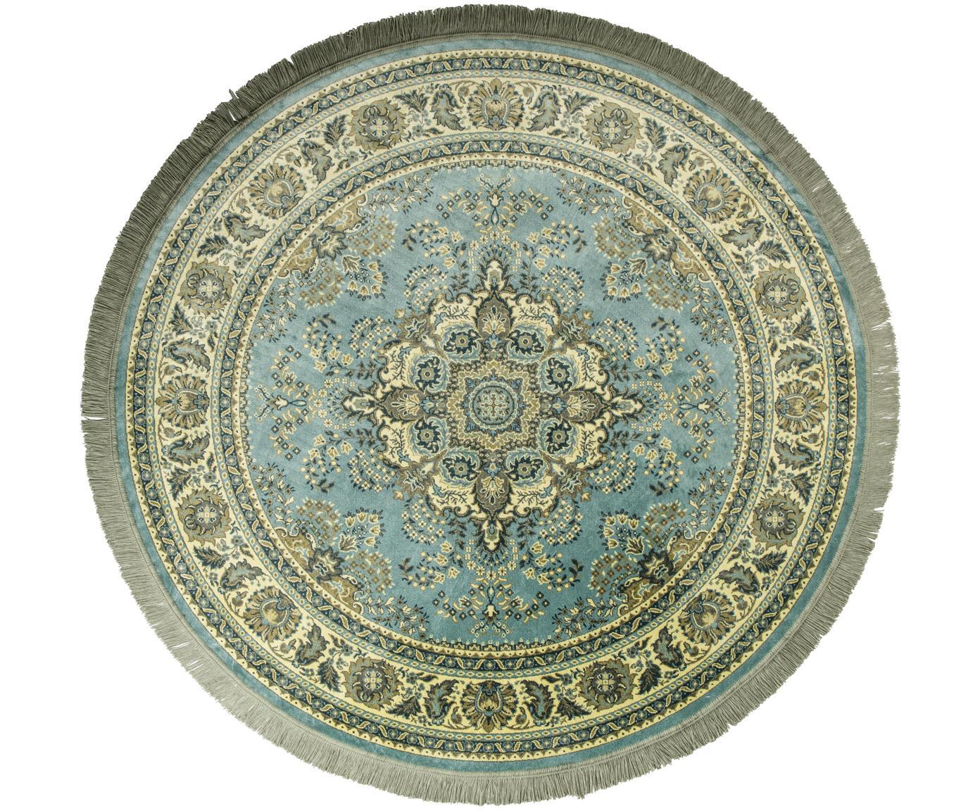 Alfombra redonda con flecos Bodega, estilo vintage, Parte superior: 38%rayón, 26%algodón, 2, Reverso: látex, Tonos verdes, Ø 175 cm (Tamaño L)