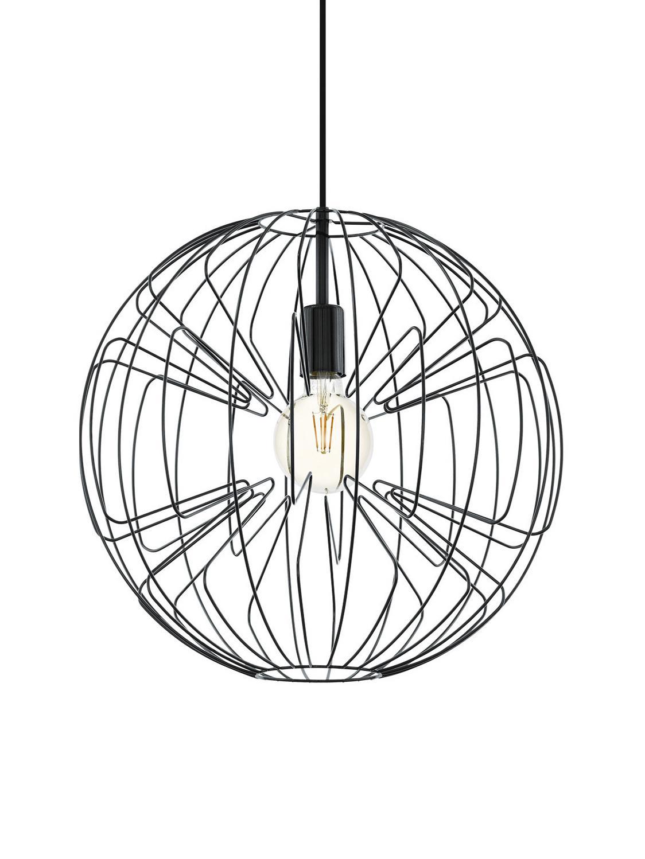 Hanglamp Okinzuri, Lampenkap: gelakt metaal, Baldakijn: gelakt metaal, Zwart, Ø 45 cm