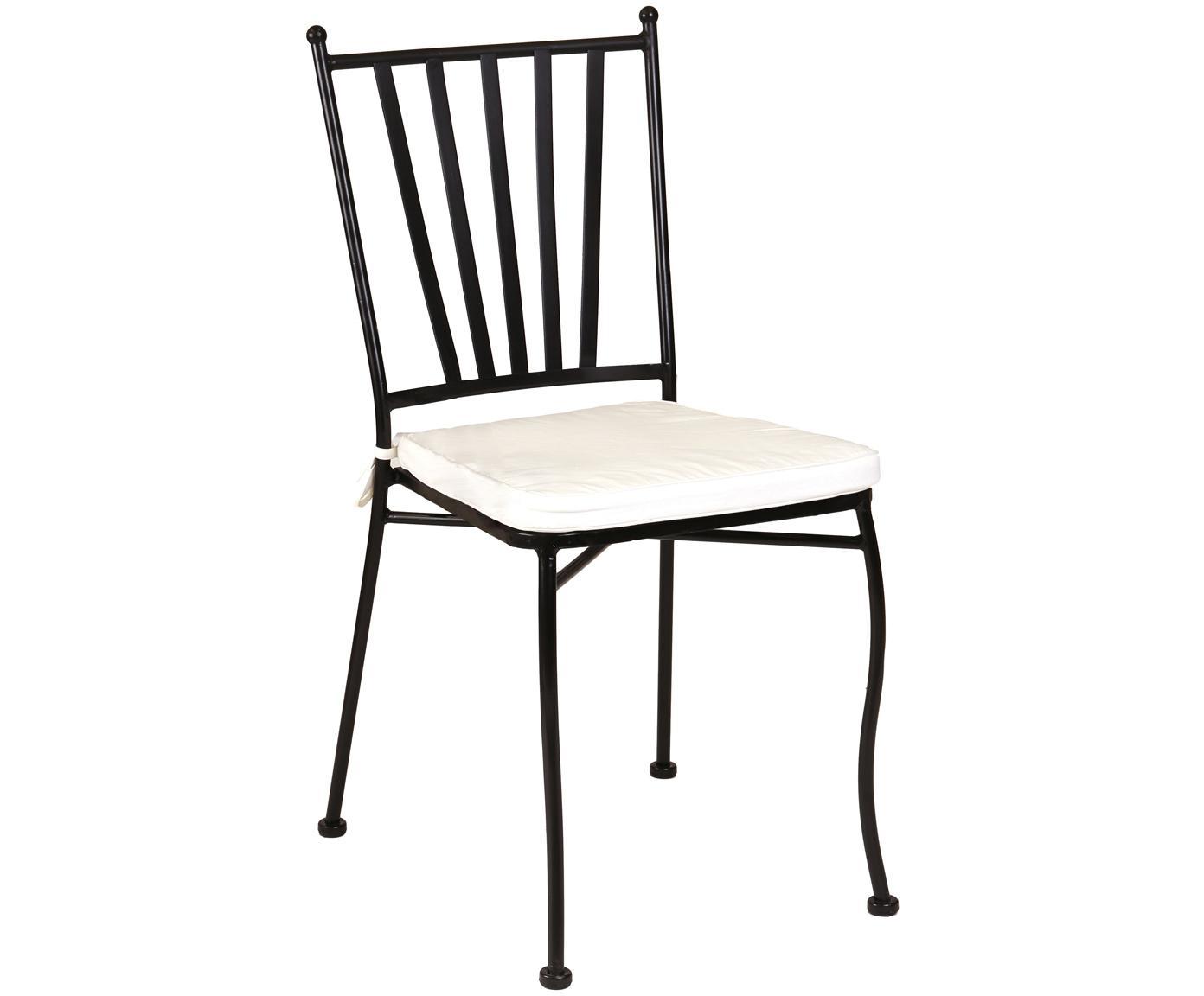 Gartenstuhl Helen aus Metall mit Sitzpolster, Gestell: Metall, pulverbeschichtet, Bezug: Polyester, Schwarz, Weiss, B 41 x T 53 cm