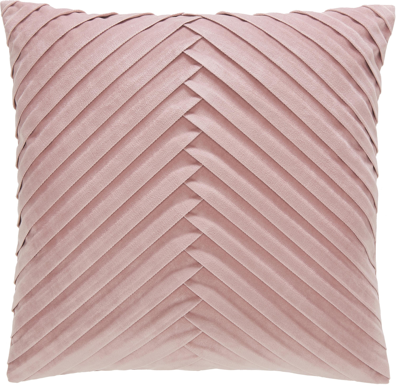 Samt-Kissenhülle Lucie mit Struktur-Oberfläche, 100% Samt (Polyester), Altrosa, 45 x 45 cm