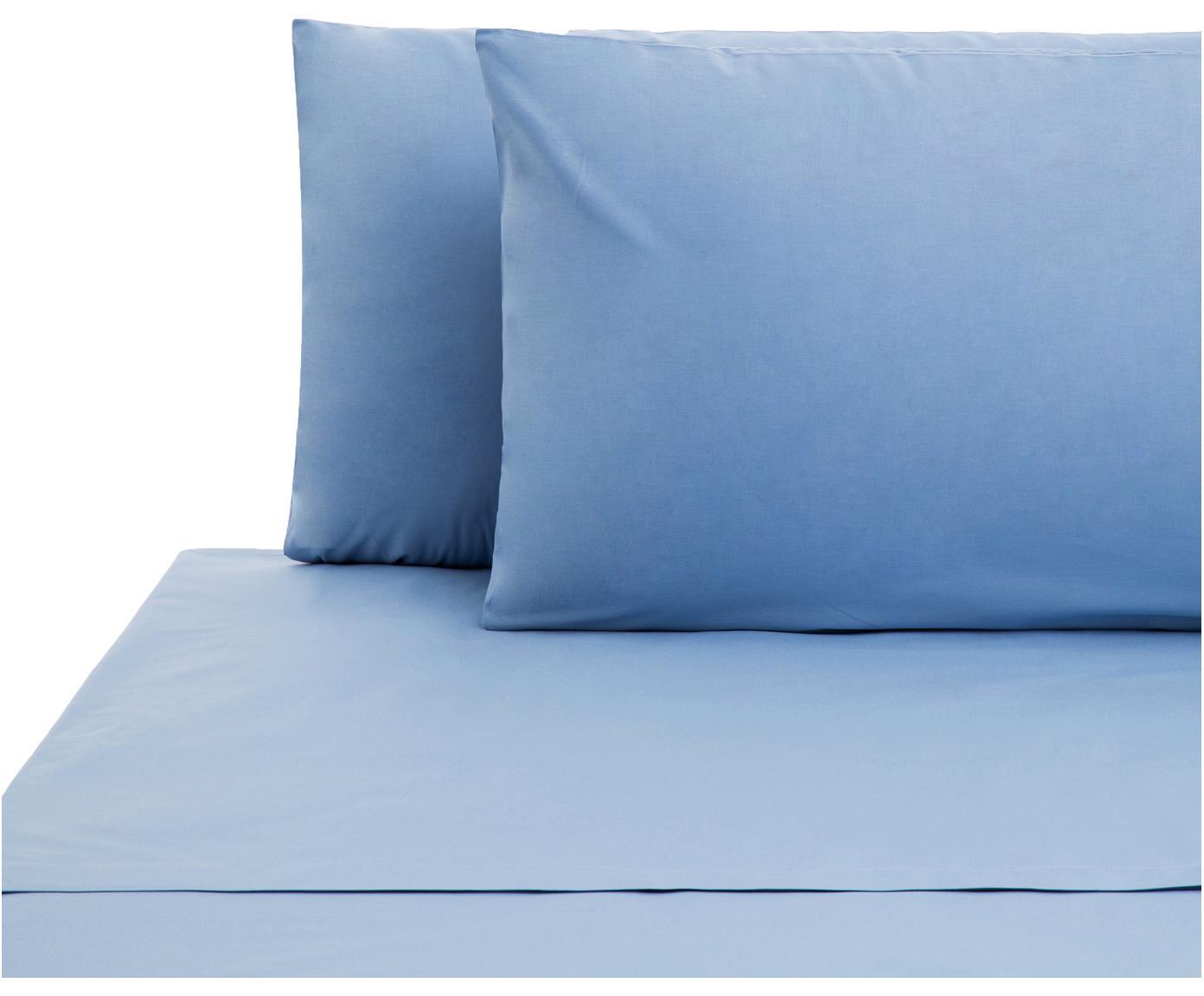 Set lenzuola in cotone ranforce Lenare 2 pz, Tessuto: Renforcé, Fronte e retro: azzurro, 240 x 290 cm
