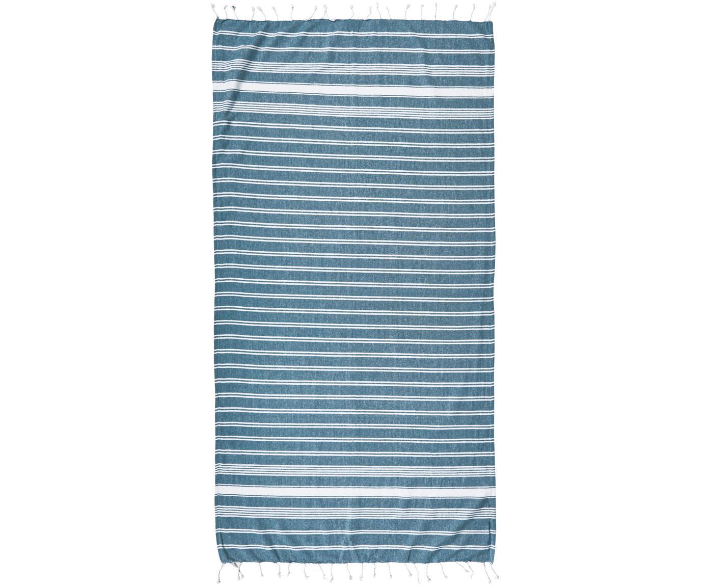 Fouta con flecos Surfside, 100%algodón, Azul petróleo, An 90 x L 170 cm