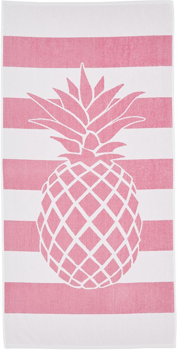 Gestreiftes Strandtuch Asan mit Ananas-Motiv, 100% Baumwolle leichte Qualität 380 g/m², Pink, Weiß, 80 x 160 cm