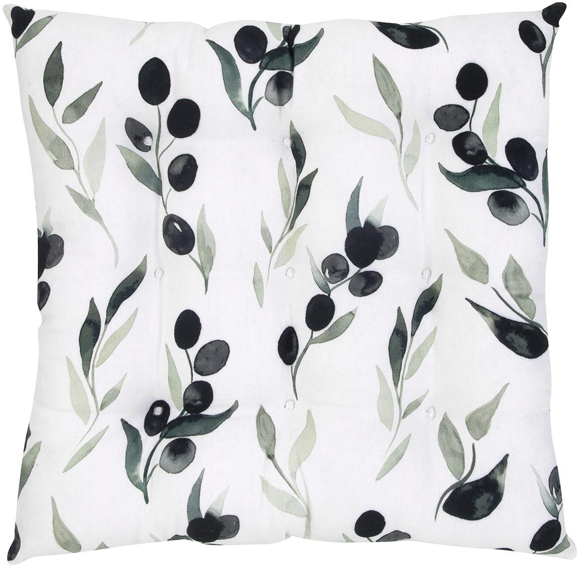 Poduszka na siedzisko Oliva, Tapicerka: bawełna, Biały, ciemny szary, zielony, S 40 x D 40 cm
