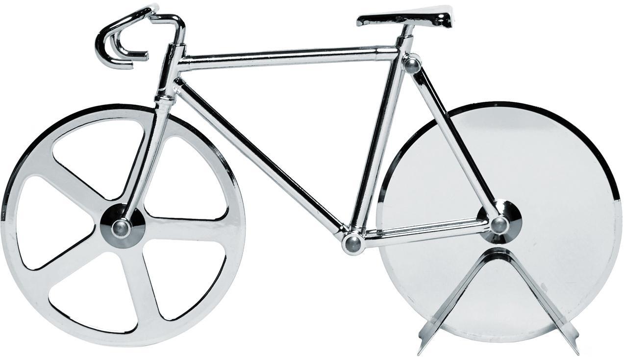 Silberfarbener Pizzaschneider Velo im Fahrraddesign aus Edelstahl, Edelstahl, verchromt, Chrom, 23 x 13 cm