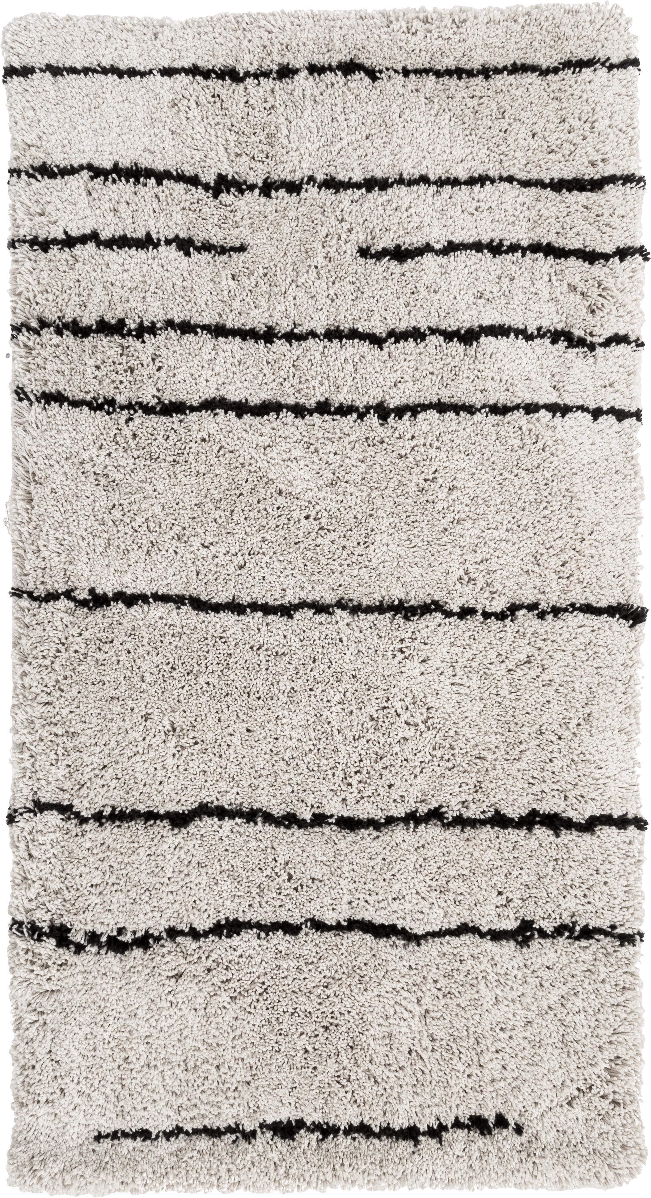 Flauschiger Hochflor-Teppich Dunya, handgetuftet, Flor: 100% Polyester, Beige, Schwarz, B 80 x L 150 cm (Größe XS)