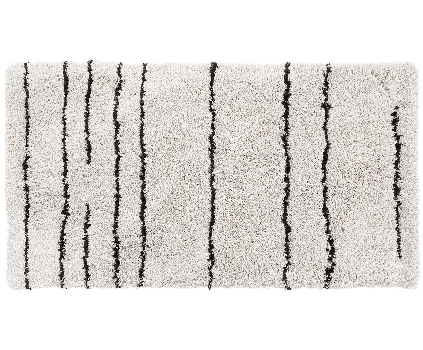 Flauschiger Hochflor-Teppich Dunya, handgetuftet, Flor: 100% Polyester, Beige, Schwarz, B 80 x L 150 cm (Grösse XS)