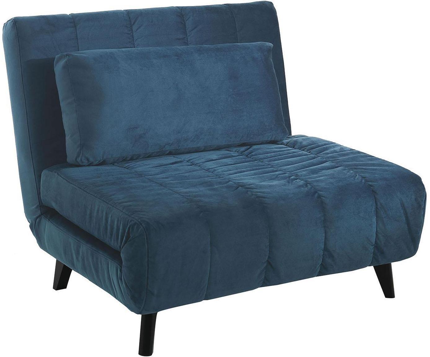 Sillón cama Laguna, Tapizado: terciopelo de microfibra, Patas: madera maciza, Azul, negro, An 100 x F 85 cm