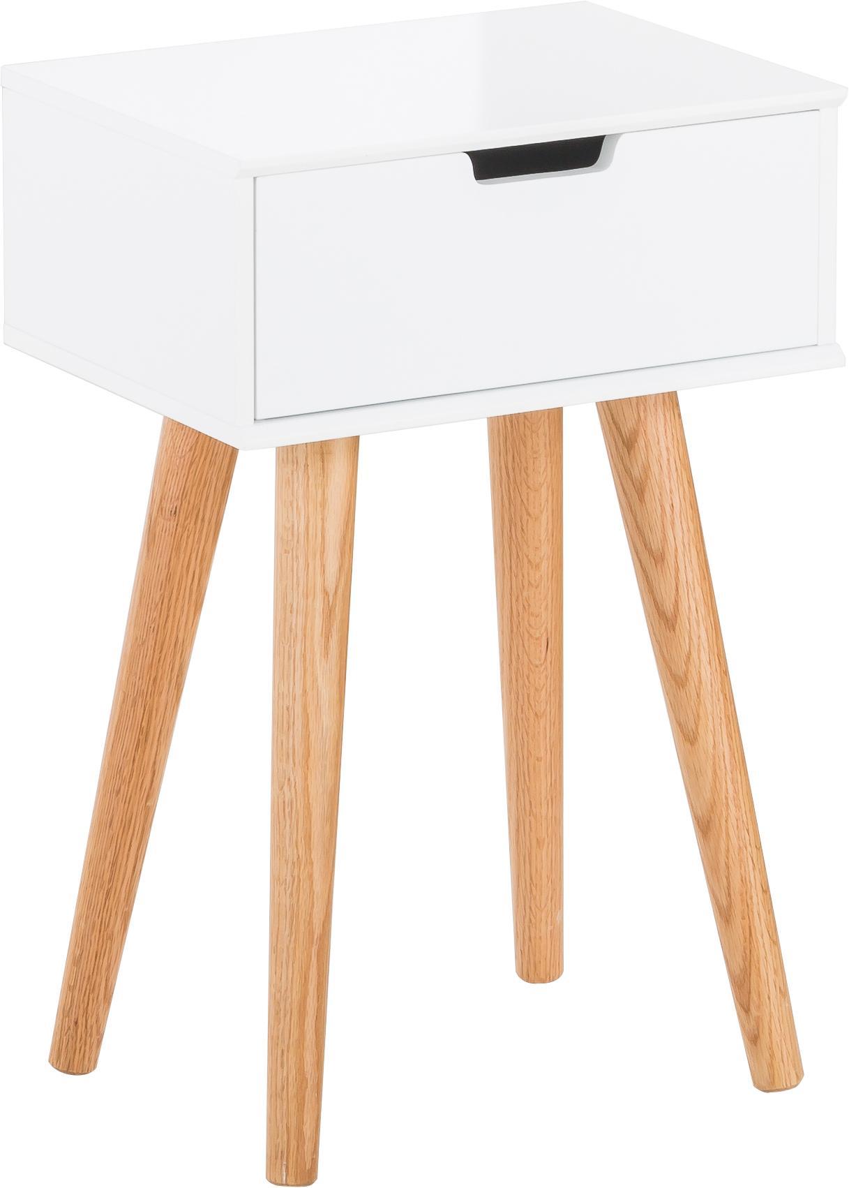 Comodino con cassetto Mitra, Gambe: legno di quercia, Gambe: legno di quercia Corpo e frontale: bianco opaco, Larg. 40 x Alt. 62 cm