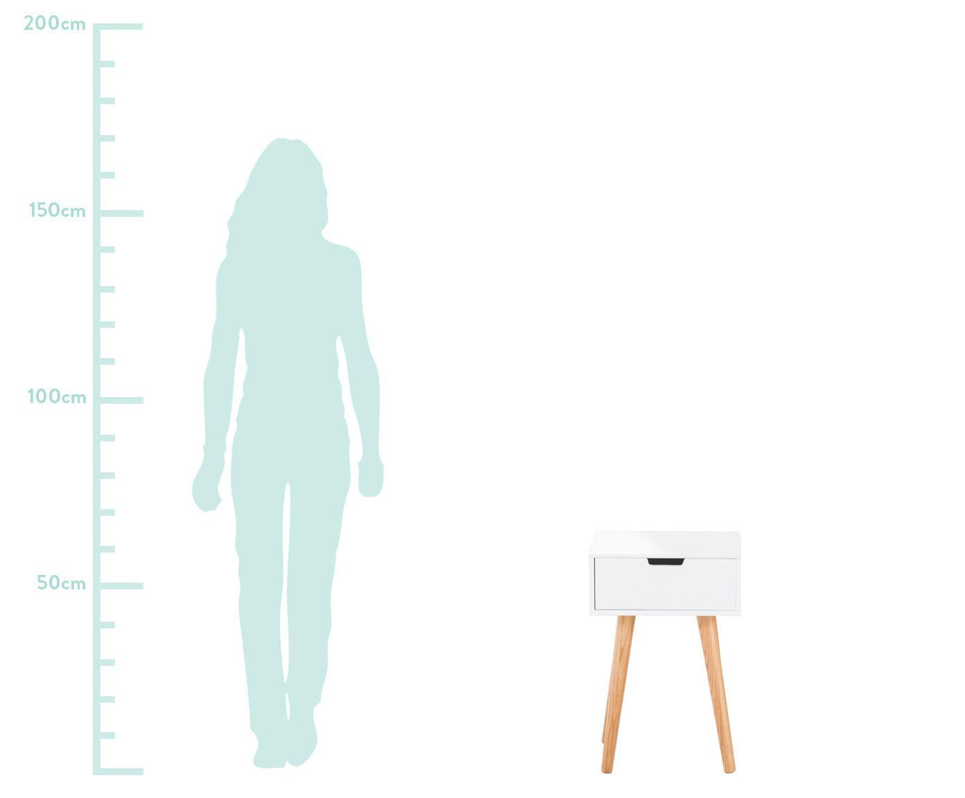 Szafka nocna Mitra, Nogi: drewno dębowe, Biały, 40 x 62 cm
