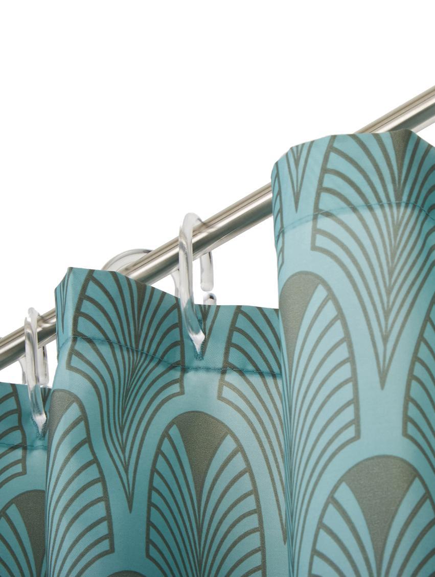 Duschvorhang Ashville mit Art Deco Muster, 100% Polyester, digital bedruckt Wasserabweisend, nicht wasserdicht, Mintblau, Grau, 180 x 200 cm
