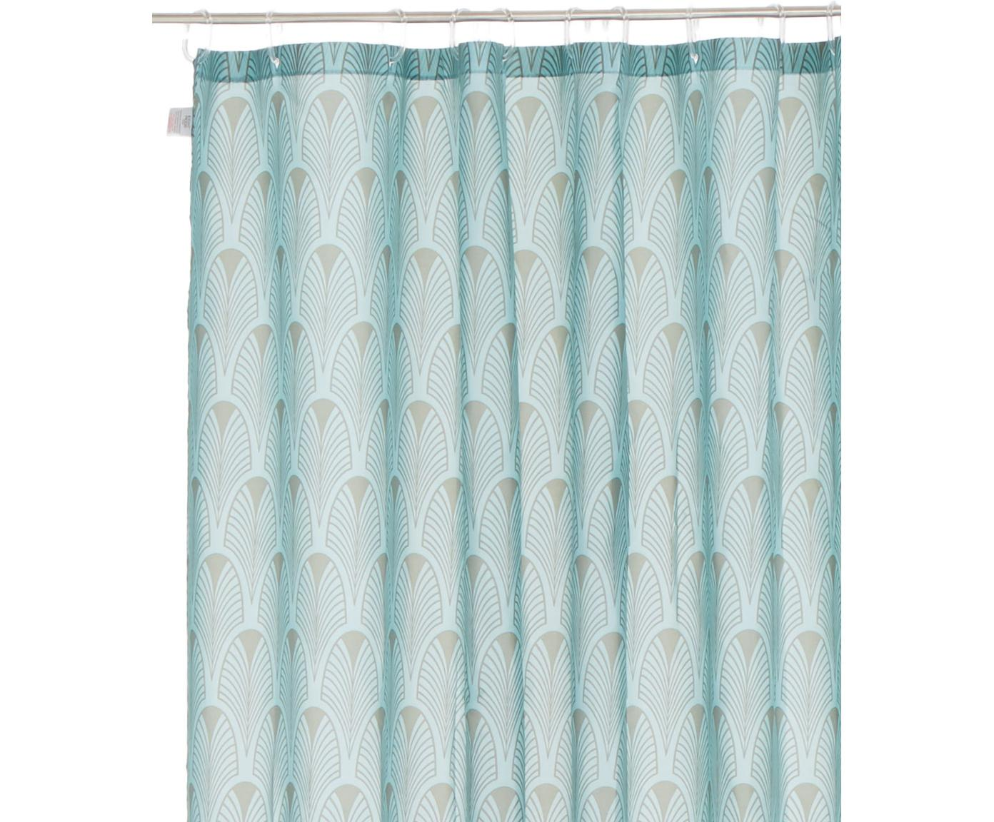 Cortina de baño Ashville, estilo Art Déco, 100%poliéster, con impresión digital Repelente al agua, no impermeable, Azul menta, gris, An 180 x L 200 cm