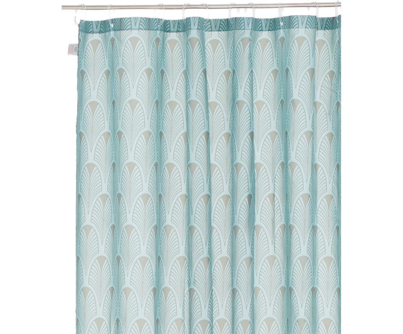 Tenda da doccia con motivo Art Deco Ashville, 100% poliestere stampato Idrorepellente non impermeabile, Blu menta, grigio, Larg. 180 x Lung. 200 cm