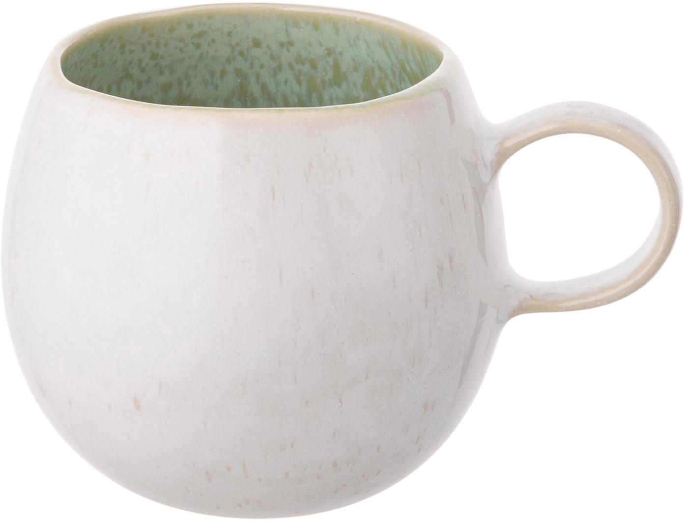 Handgeschilderde theemokken Areia, 2 stuks, Keramiek, Mintgroen, gebroken wit, beige, Ø 9 x H 10 cm