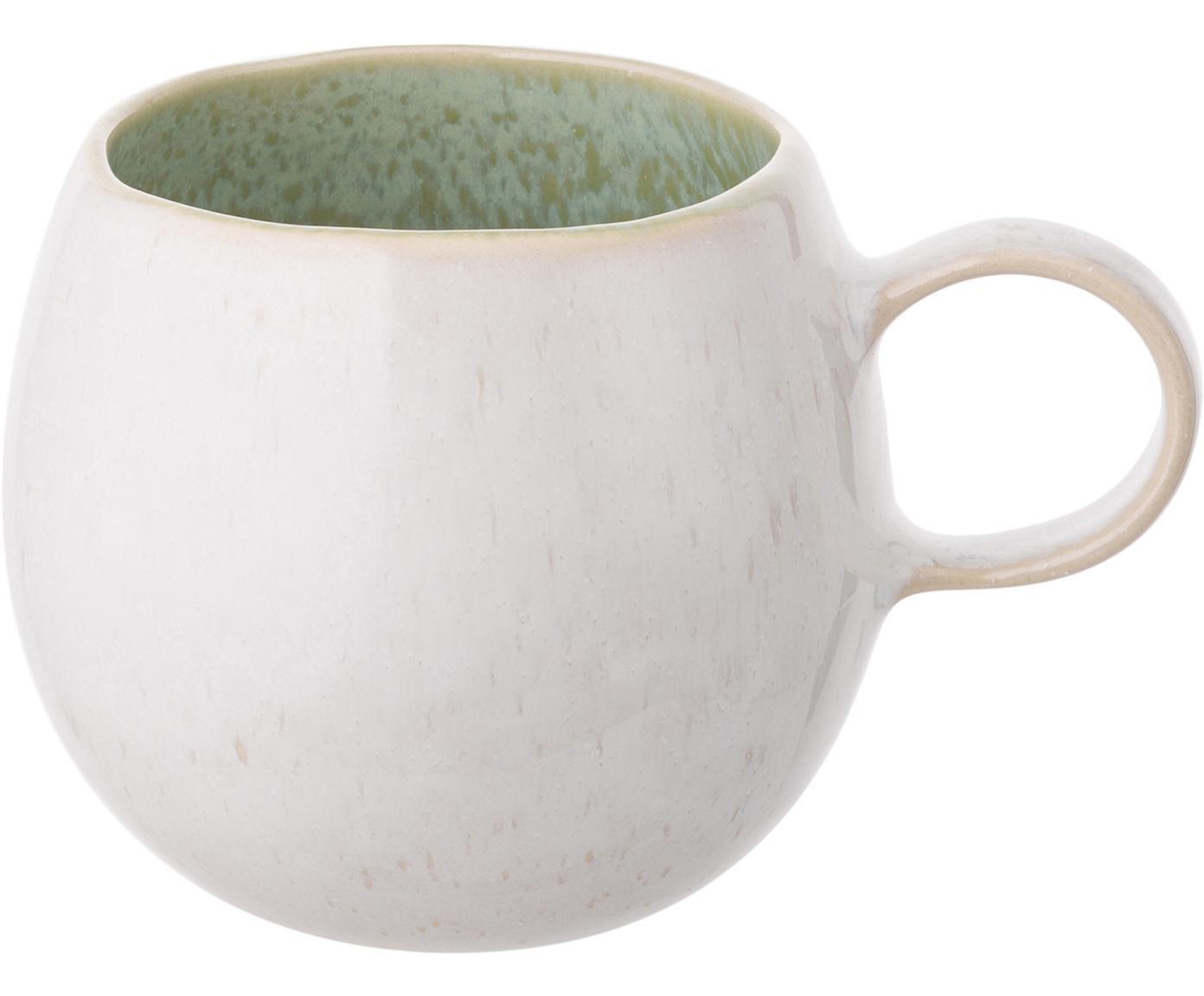 Handbemalte Teetassen Areia, 2 Stück, Steingut, Mint, Gebrochenes Weiss, Beige, Ø 9 x H 10 cm