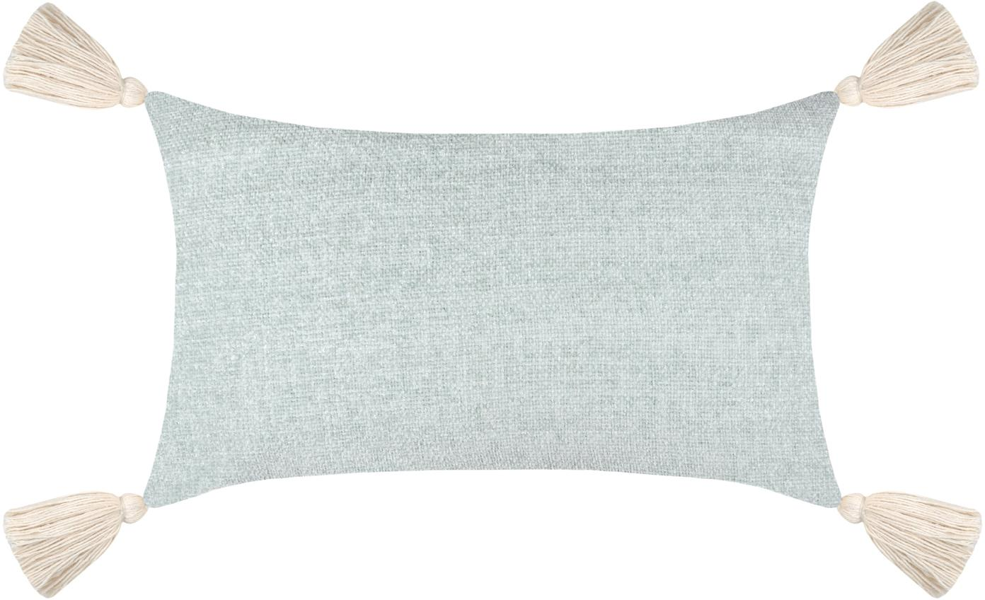 Weiches Chenille-Kissen Chila mit Quasten, mit Inlett, Bezug: 95% Polyester, 5% Baumwol, Blaugrau, 30 x 50 cm