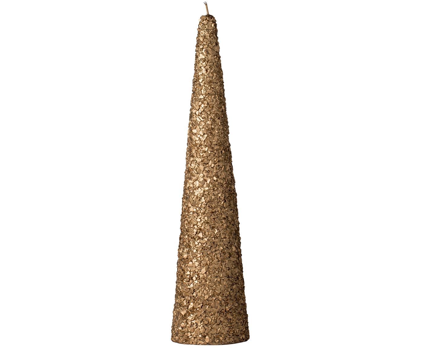Candela deco Gliteria, 95% cera paraffinica, 5% cera di soia, Marrone, Ø 7 x A 30 cm