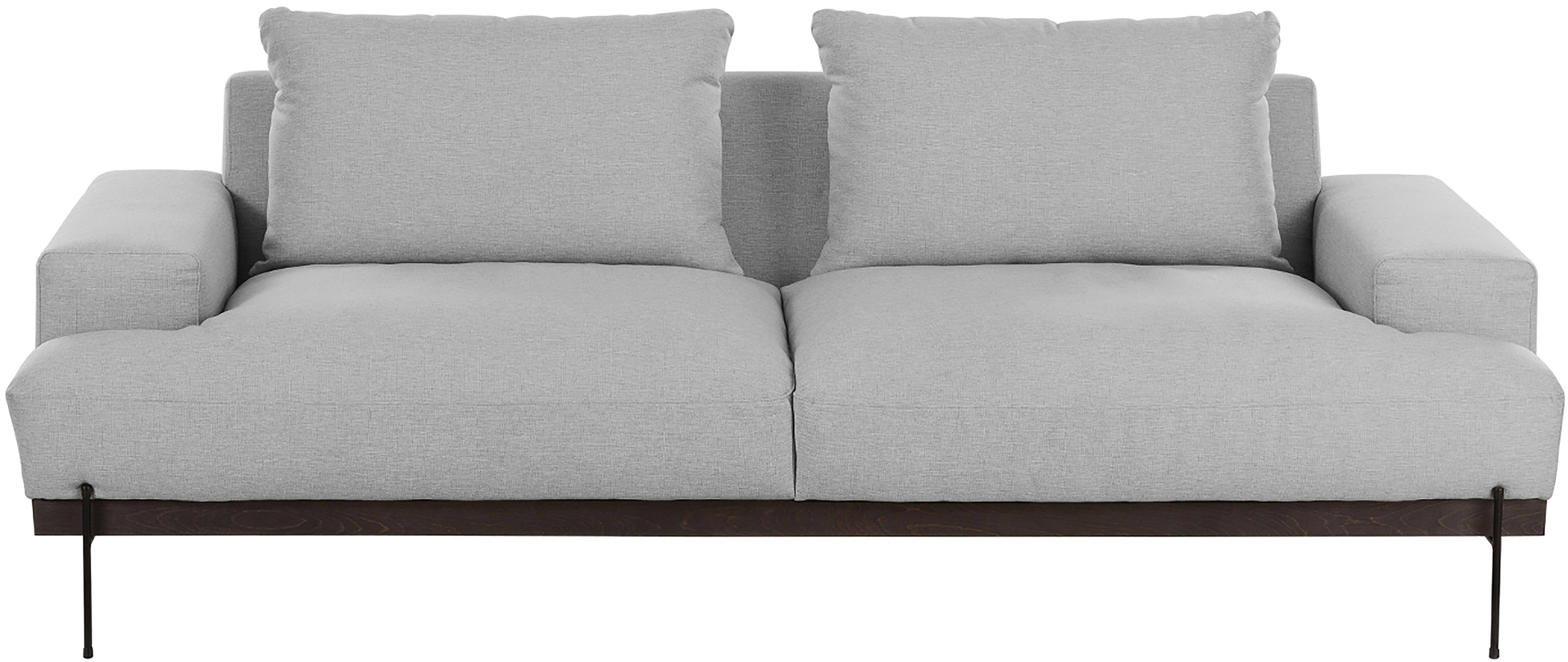 Sofa Brooks (3-Sitzer), Bezug: Polyester 35.000 Scheuert, Gestell: Kiefernholz, massiv, Rahmen: Kiefernholz, lackiert, Webstoff Grau, B 230 x T 98 cm