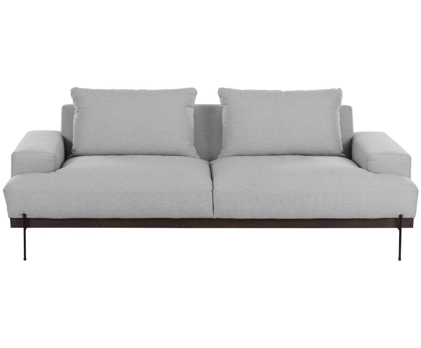 Bank Brooks (3-zits), Bekleding: polyester, Frame: gelakt grenenhout, Poten: gepoedercoat metaal, Grijs, B 230 x D 98 cm