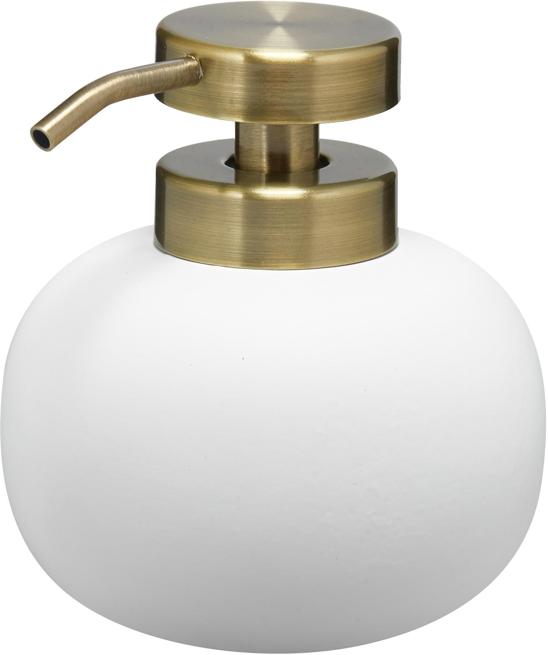 Keramik-Seifenspender Lotus, Behälter: Keramik, Pumpkopf: Metall, beschichtet, Weiß, Messingfarben, Ø 11 x H 13 cm